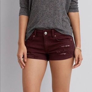 American Eagle Outfitters Maroon Ripped Shorts